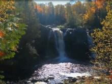 misty morning waterfall